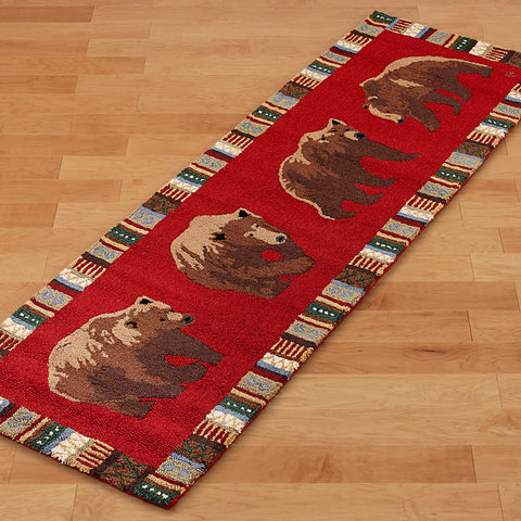 "Chandler 4 Corners 30"" x 8' Hooked Runner, Cinnamon Bears"