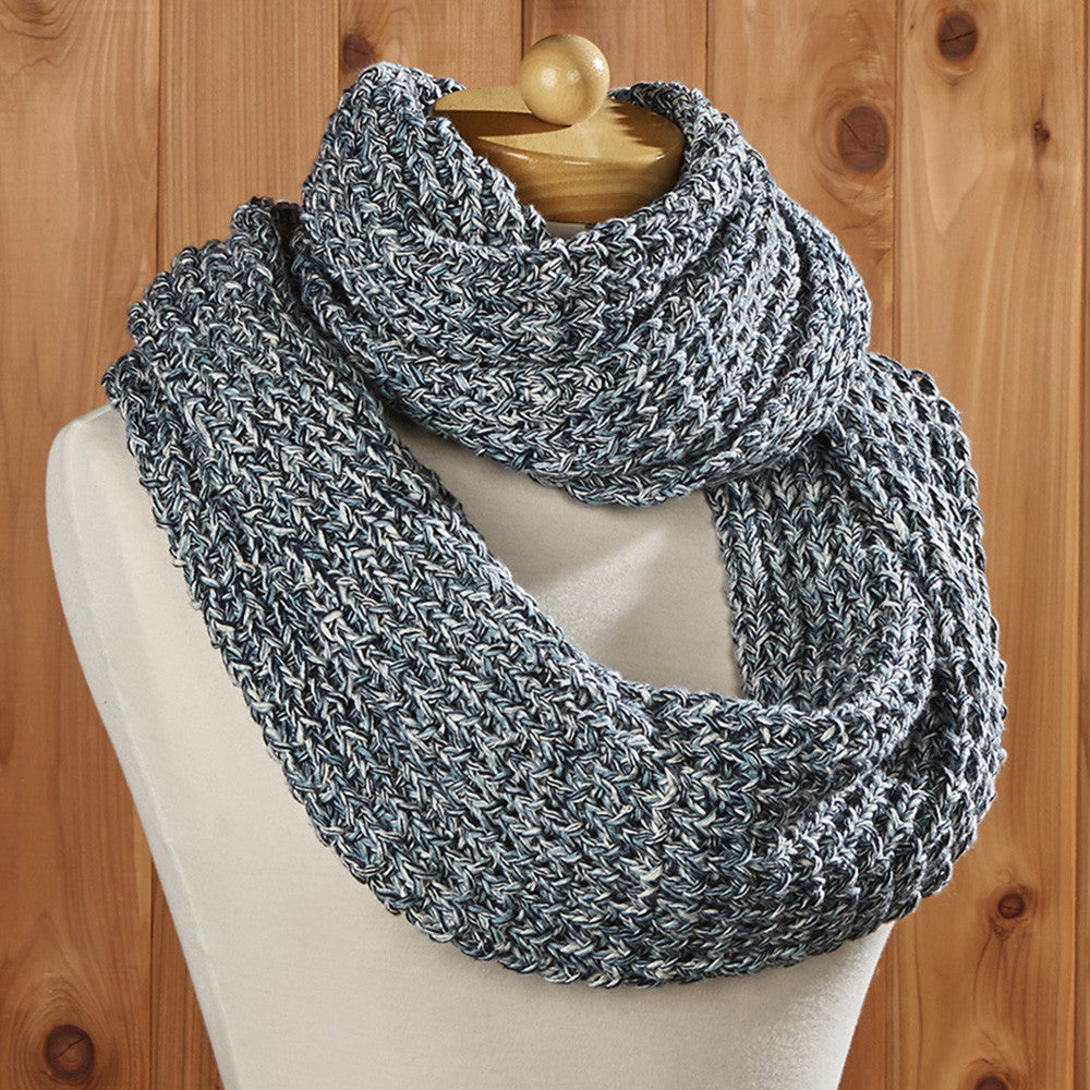 Infinity Cotton Loop Scarf, Blue