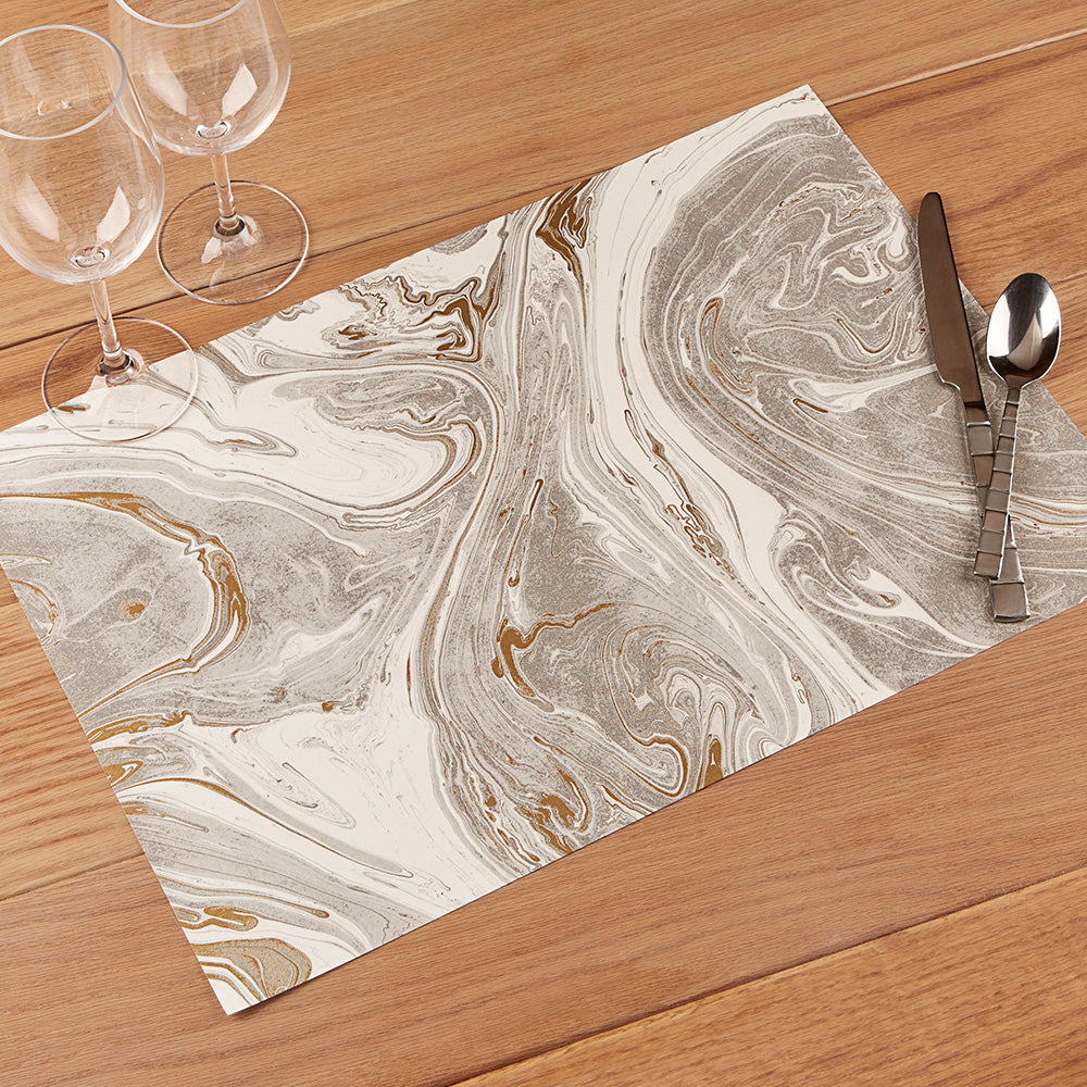 Hester & Cook Paper Placemats, Gray and Gold Marbled