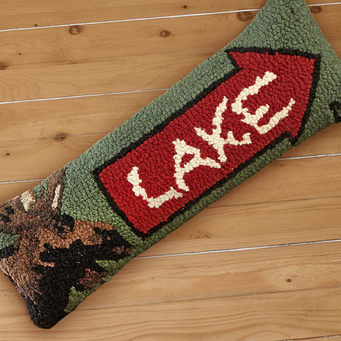 "Chandler 4 Corners 8"" x 24"" Hooked Pillow, Lake Arrow with Moose"