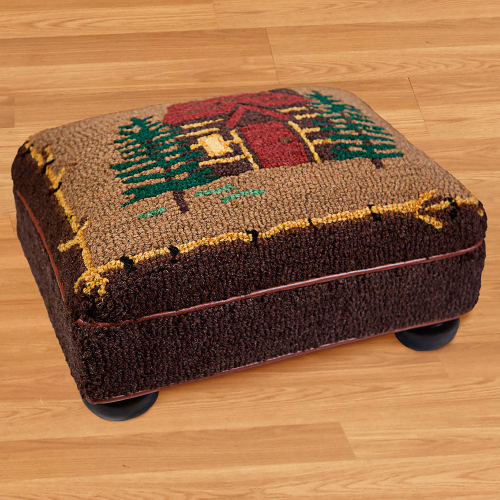 "Chandler 4 Corners 14"" x 18"" Hooked Top Footstool, Cabin in the Woods"