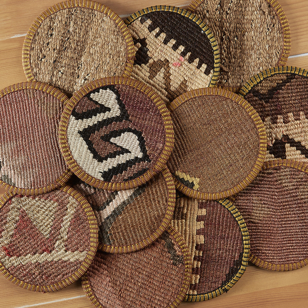 Kilim Coaster Set, Brown Neutrals