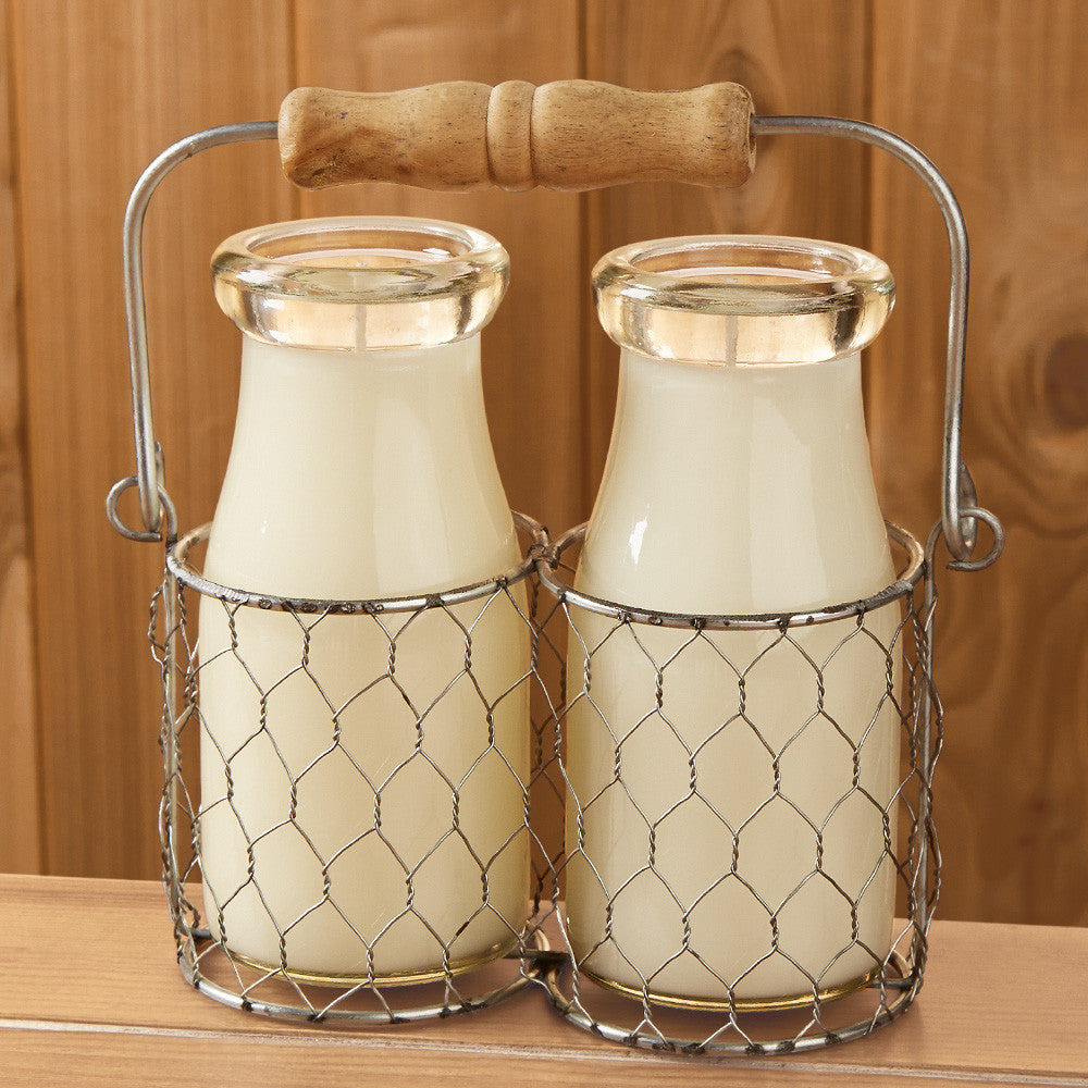 Farmhouse Wire Milkbottle Candle Basket
