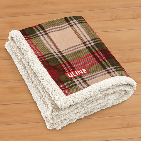 Red and Green Plaid Lamb's Wool Throw