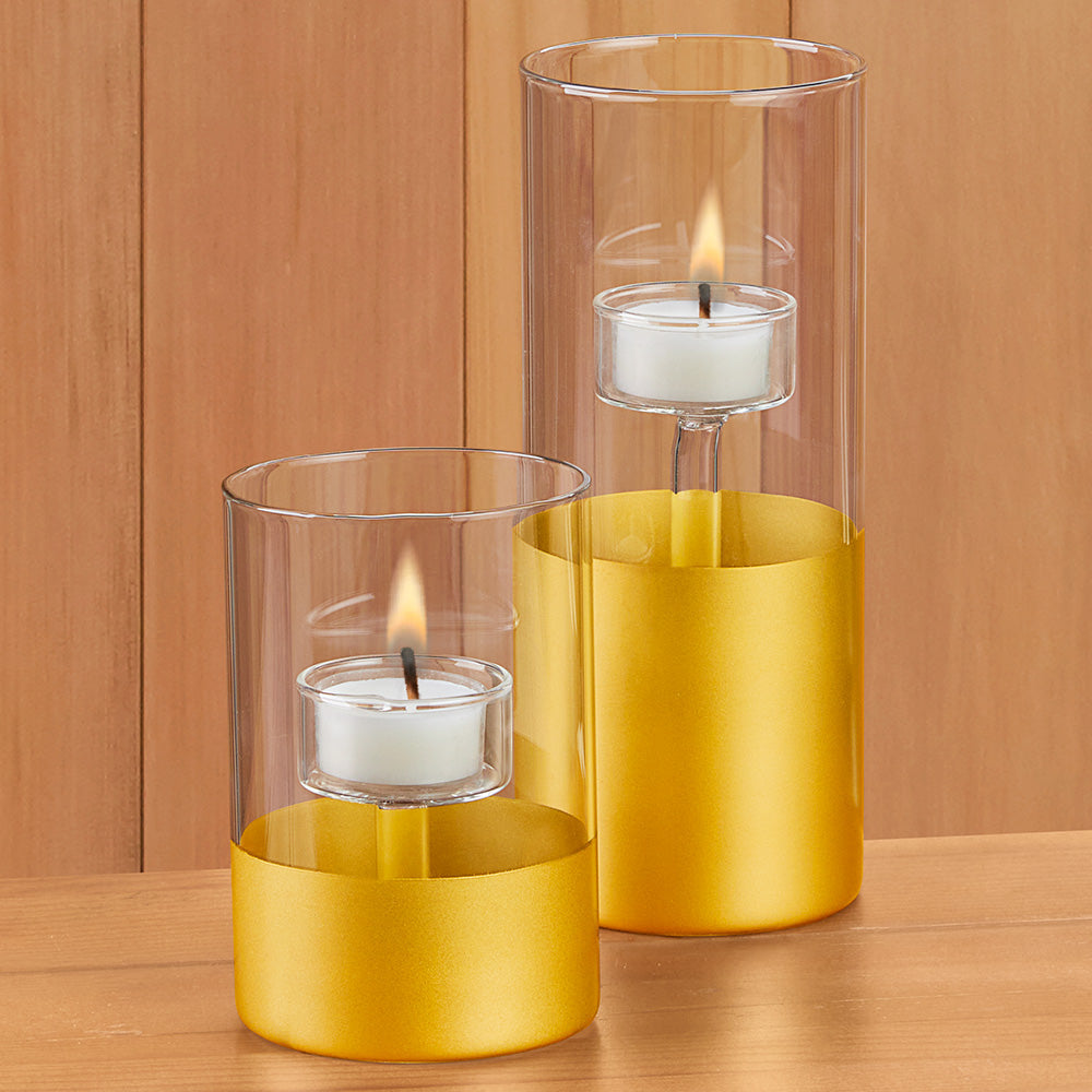 Satin Gold Glass Tealight Holder