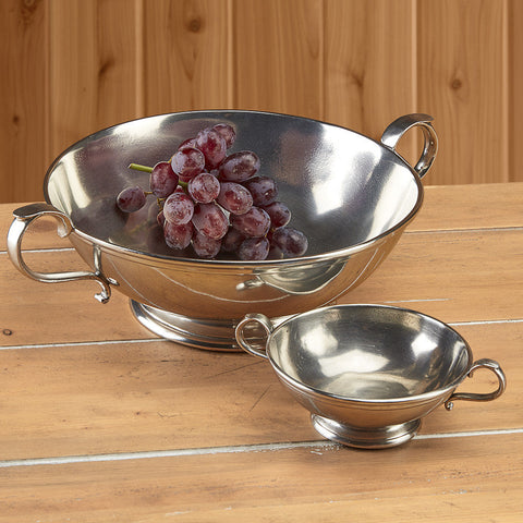 Lucca Low Footed Bowl with Handles by Match Pewter