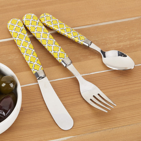 Quid Novi Avignon Flatware, Yellow