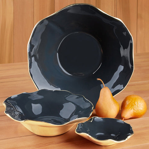 Nima Oberoi Graphite Ruffled Serving Bowl