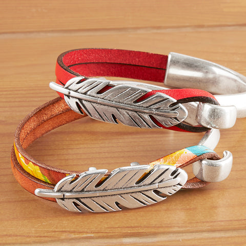 Montana Leather Half Cuff Leather Bracelet, Wide Prairie Collection