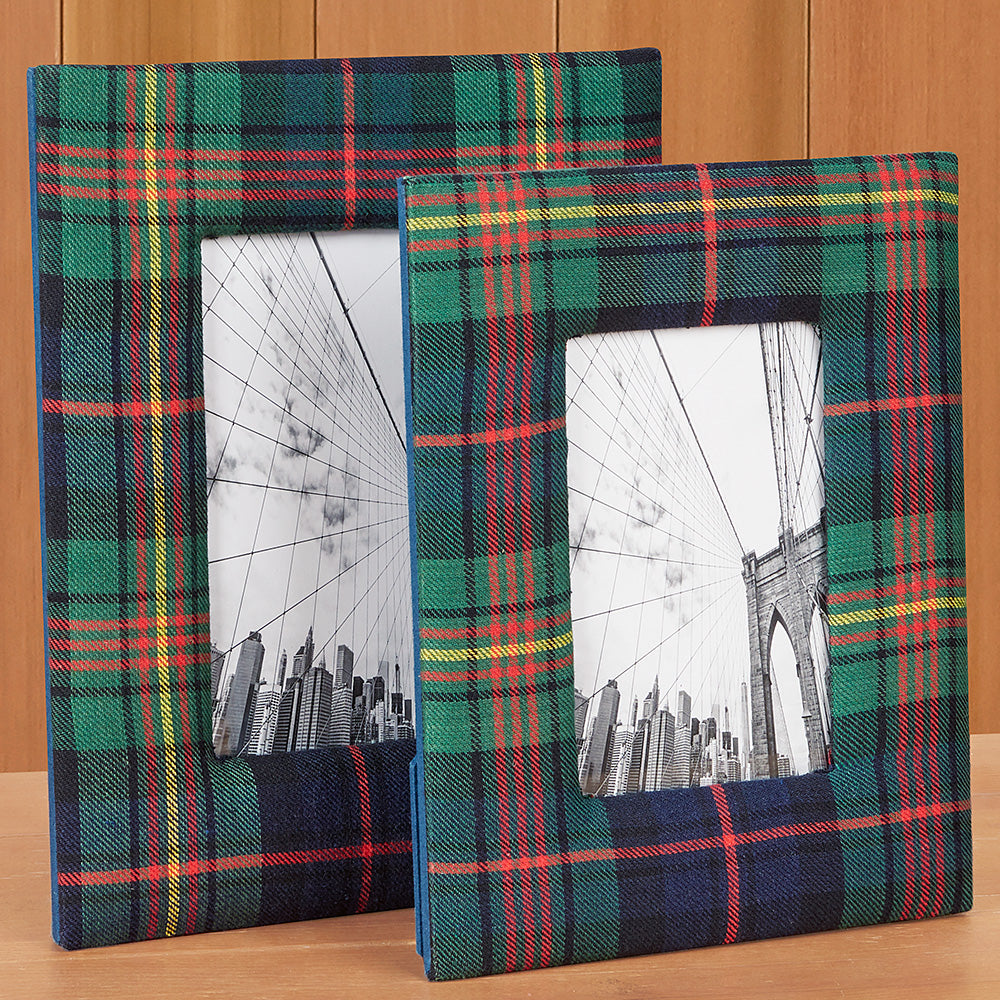Tartan Plaid Picture Frames, Green & Blue
