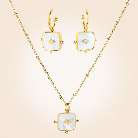 Trades by Haim Shahar Mother of Pearl Necklace and Earrings