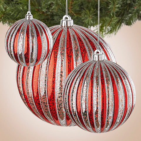 Red and Silver Striped Ornament