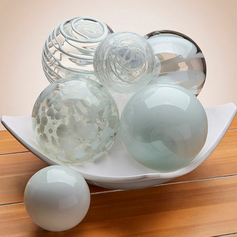 Hand Blown Glass Sphere, White
