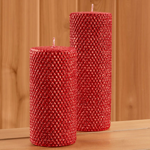 Metallic Glitter Pillar Candle, Ruby