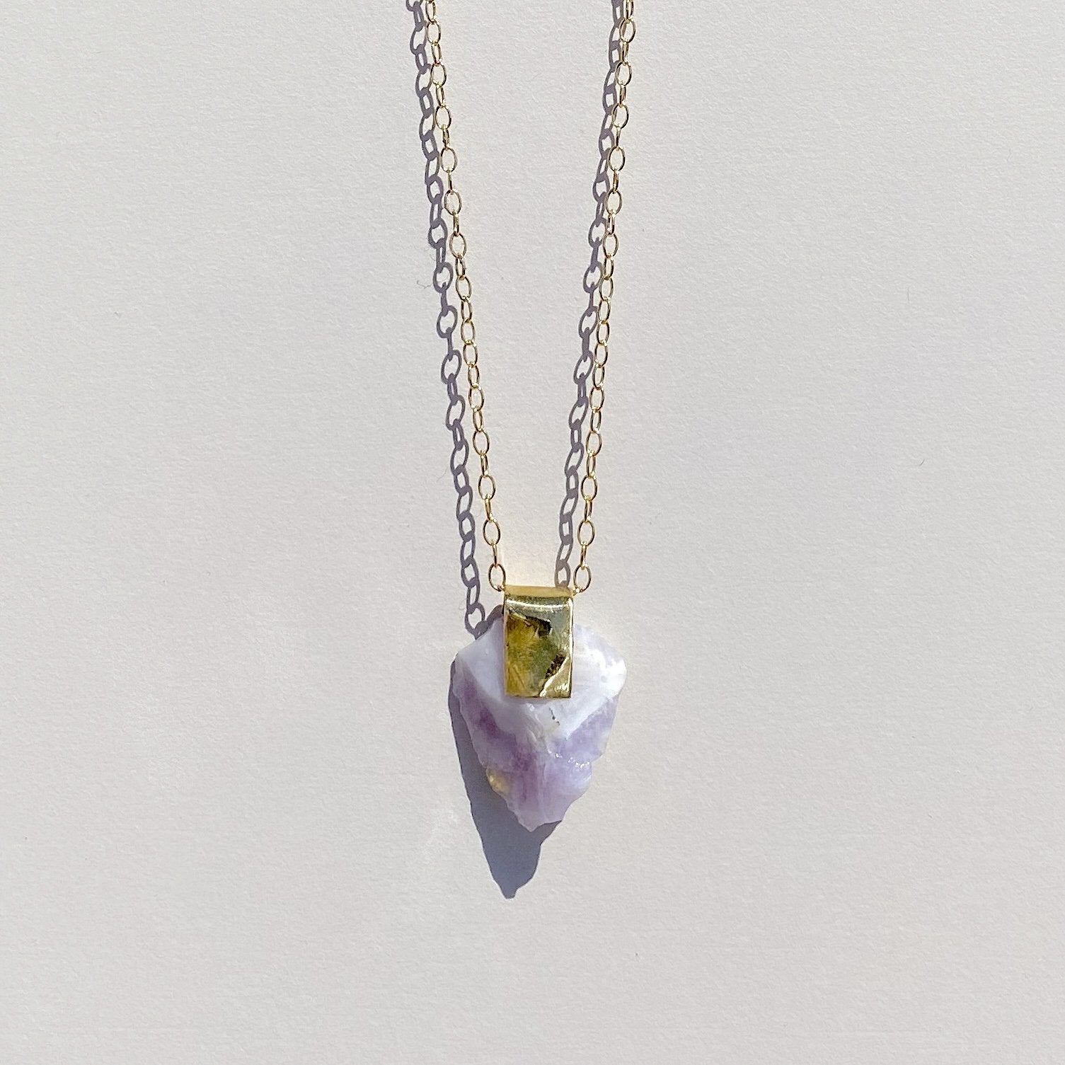 Chevron Amethyst Brass Necklace