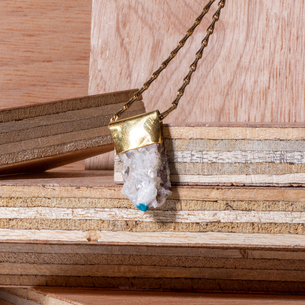 Cavansite Organic Brass Necklace