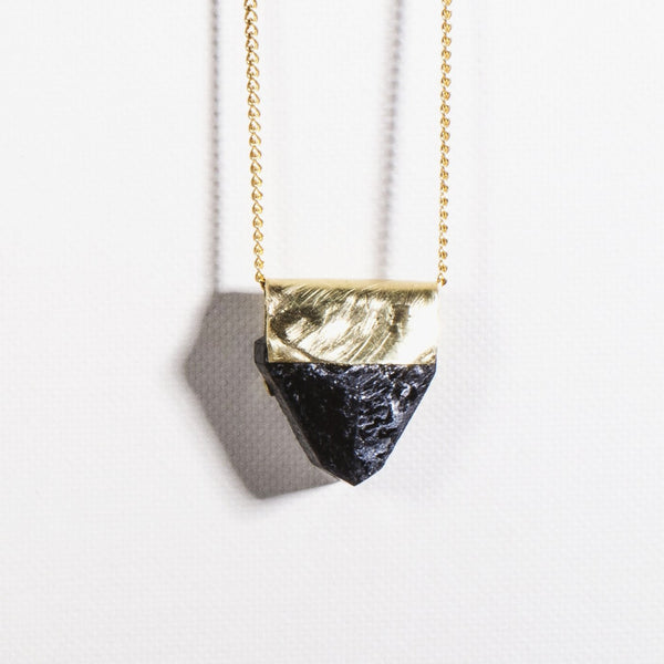 Tourmaline Brass Necklace