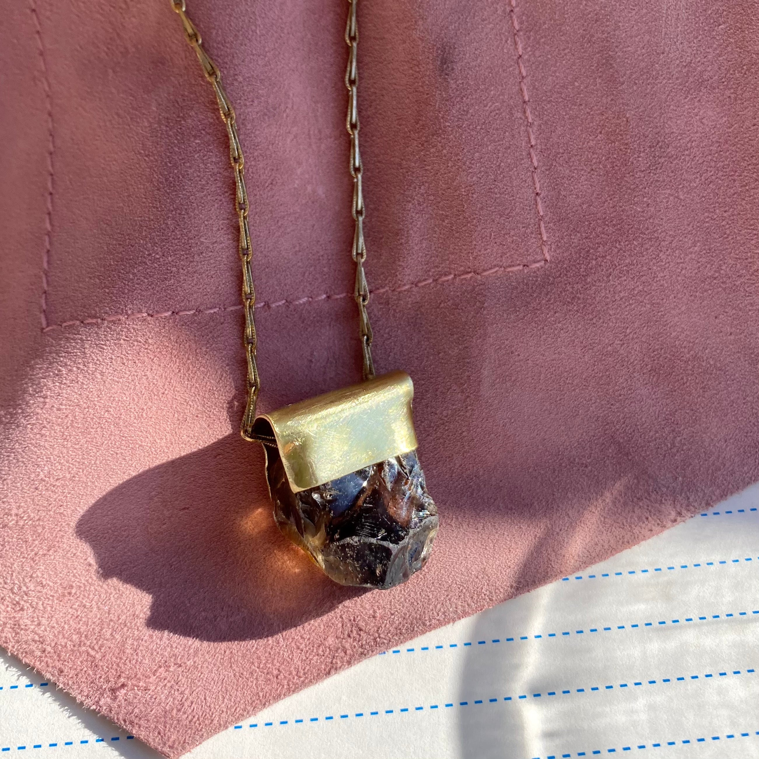 Smokey Quartz Organic Brass Necklace