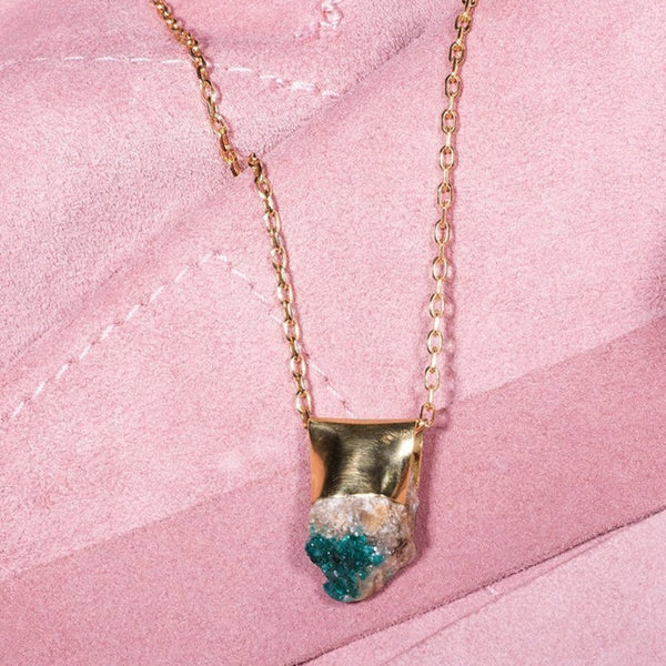 Dioptase Gold Necklace