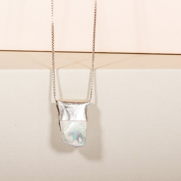 Pure Silver: Boulder Opal on long chain