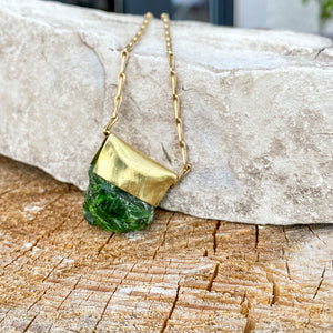 Chrome Diopside Organic Brass Necklace