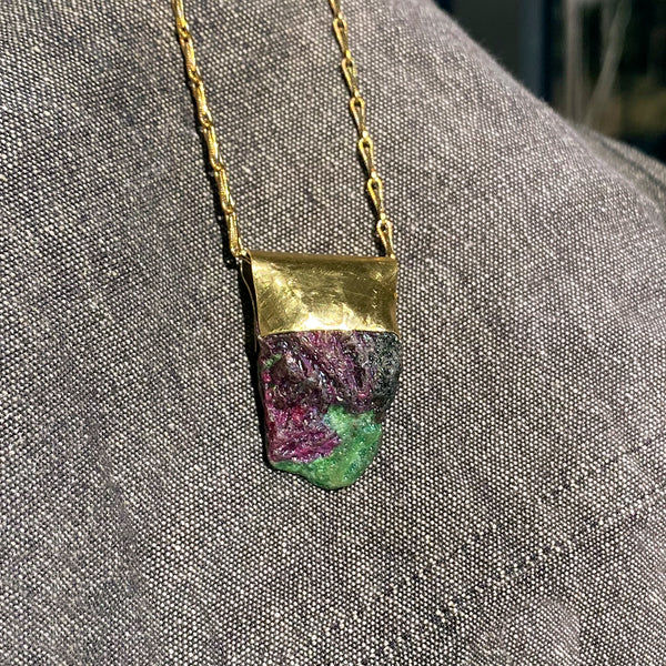 Ruby in Ziosite Organic Brass Necklace Healing Stone