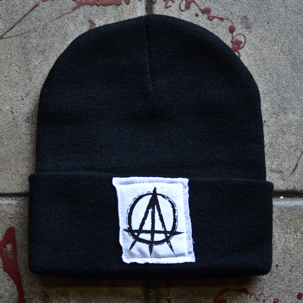 Black Beanie with ATO Custom Logo in Black on White Stitched Label