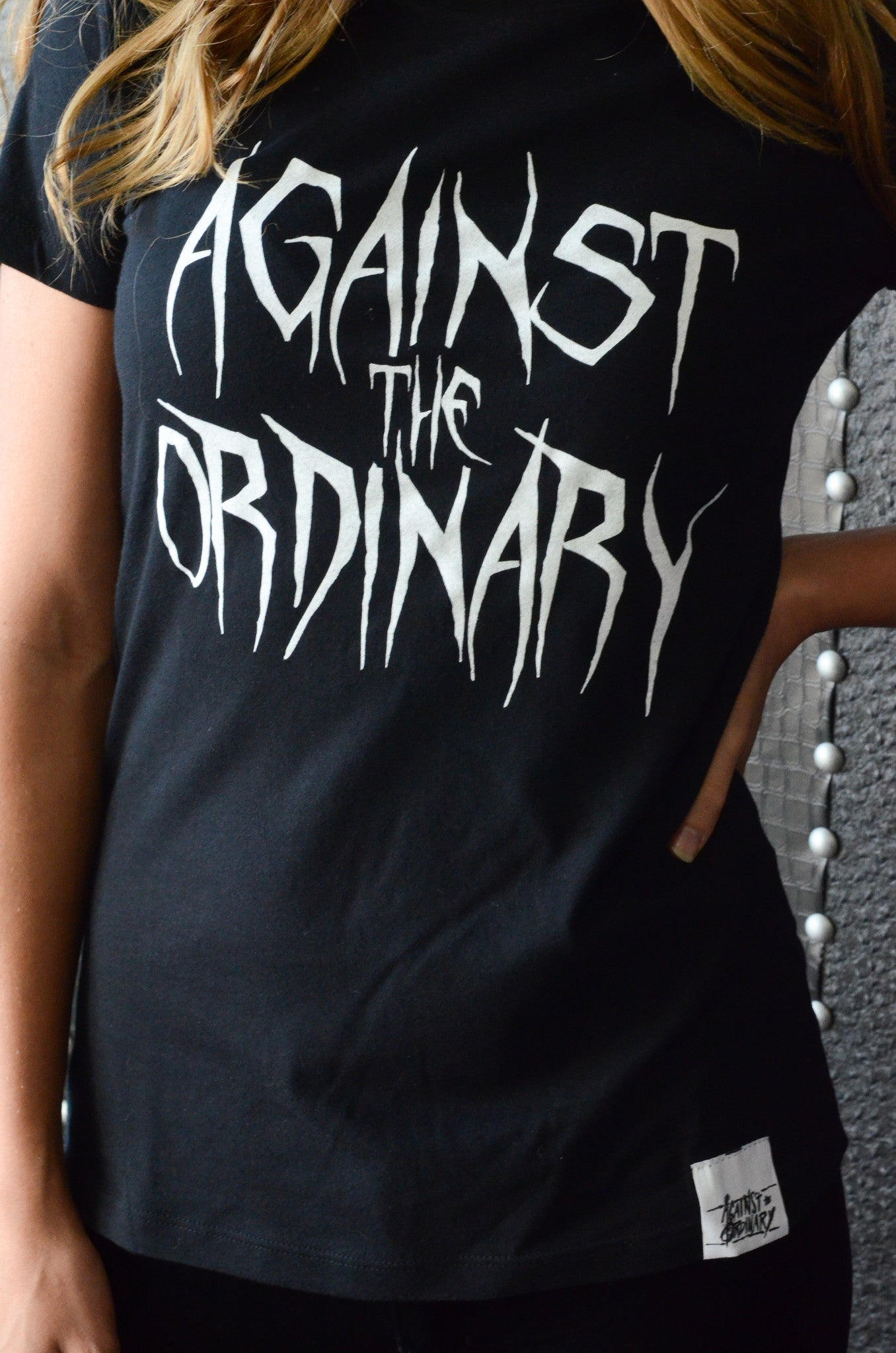 Against the Ordinary Print Short Sleeve Women's Tee with METAL Design