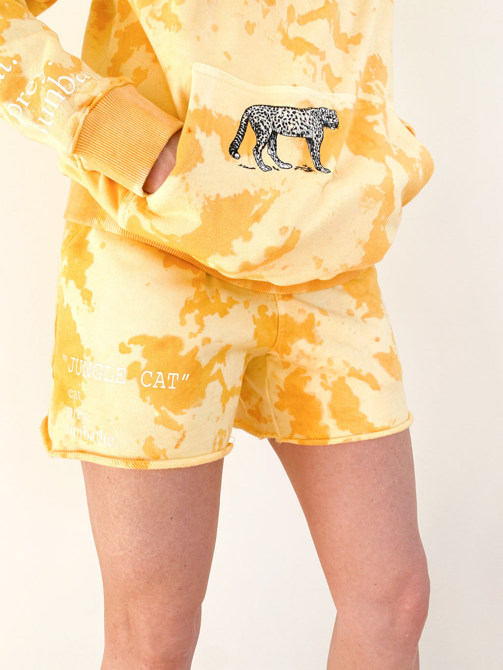 """JUNGLE CAT"" yellow shorts"