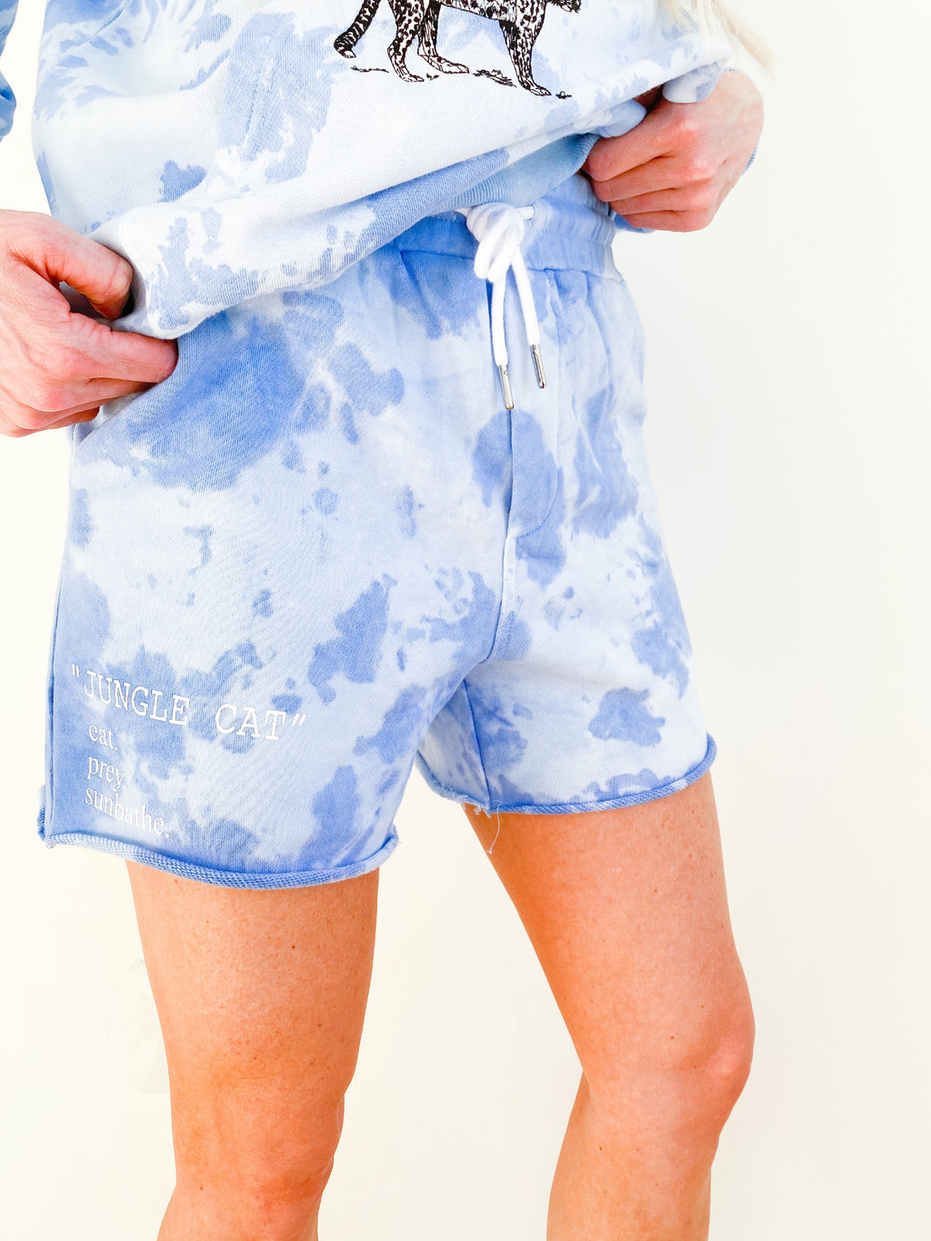 """JUNGLE CAT"" blue shorts"