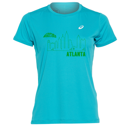 """Asics Women's Silver Short Sleeve - Skyline Logo"""