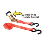 "1"" x 15' 2,000 lb Ratcheting Tie Downs Orange 4-Pack"