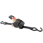 "1""x10' 1,200 lb Re-Tractable Ratchet Tie Downs Black 2-Pack"