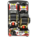 "2""x10' 3300 lb Re-Tractable Ratchet Tie Downs Black 2-Pack"