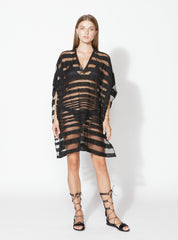 Mesh Striped Kaftan with Leather Neckline