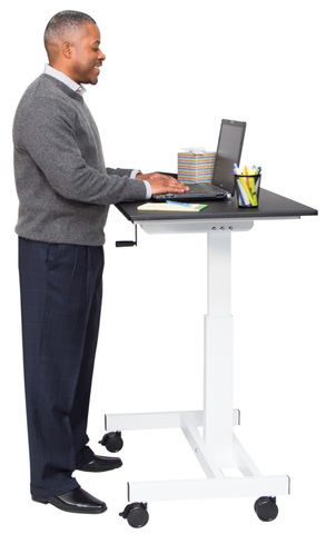 "40"" Single Column Crank Adjustable Standing Desk"