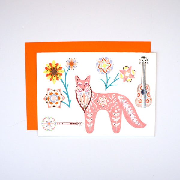 Folk Fox, Ukulele and Banjo Card