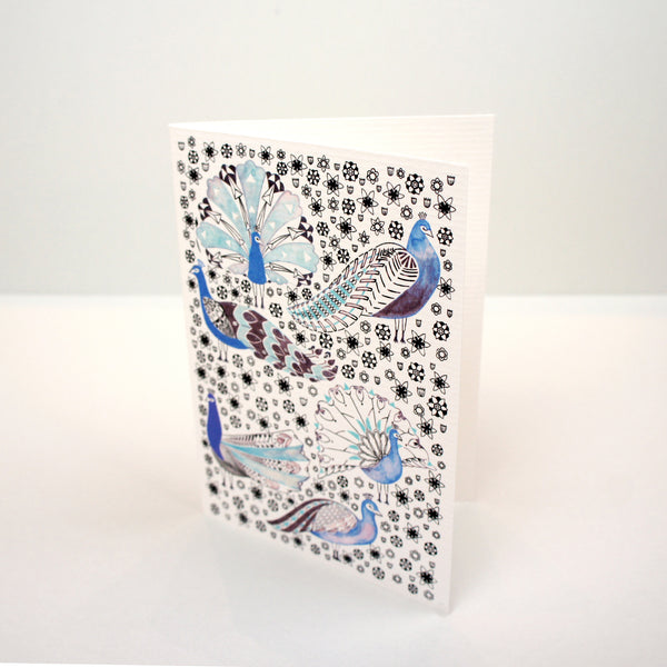Peacocks and Wild Flowers Card