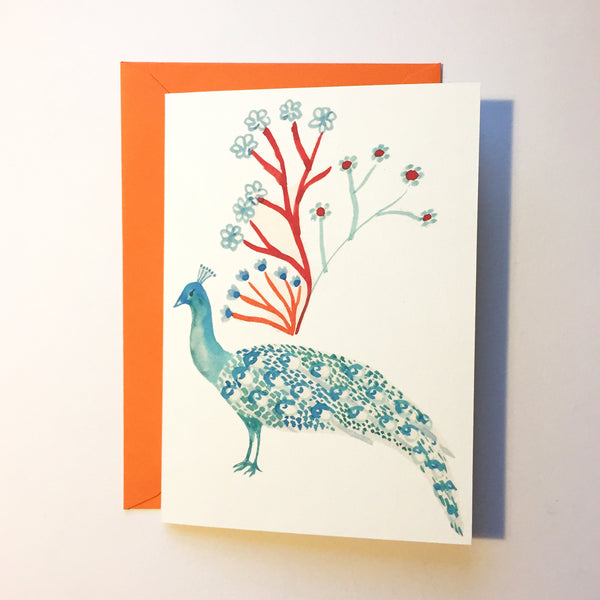 Peacock and Branch Card