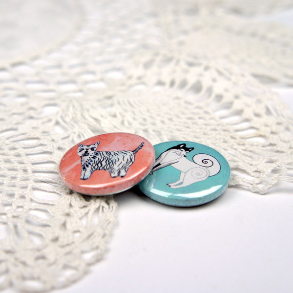 Westie and Husky Dog Badge Set