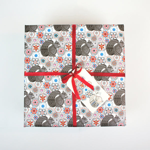 Squirrel among Flowers Wrapping Paper