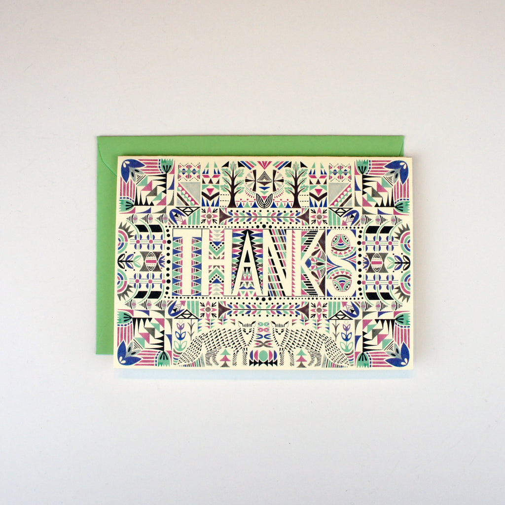 Foxes Aztec Thanks Card
