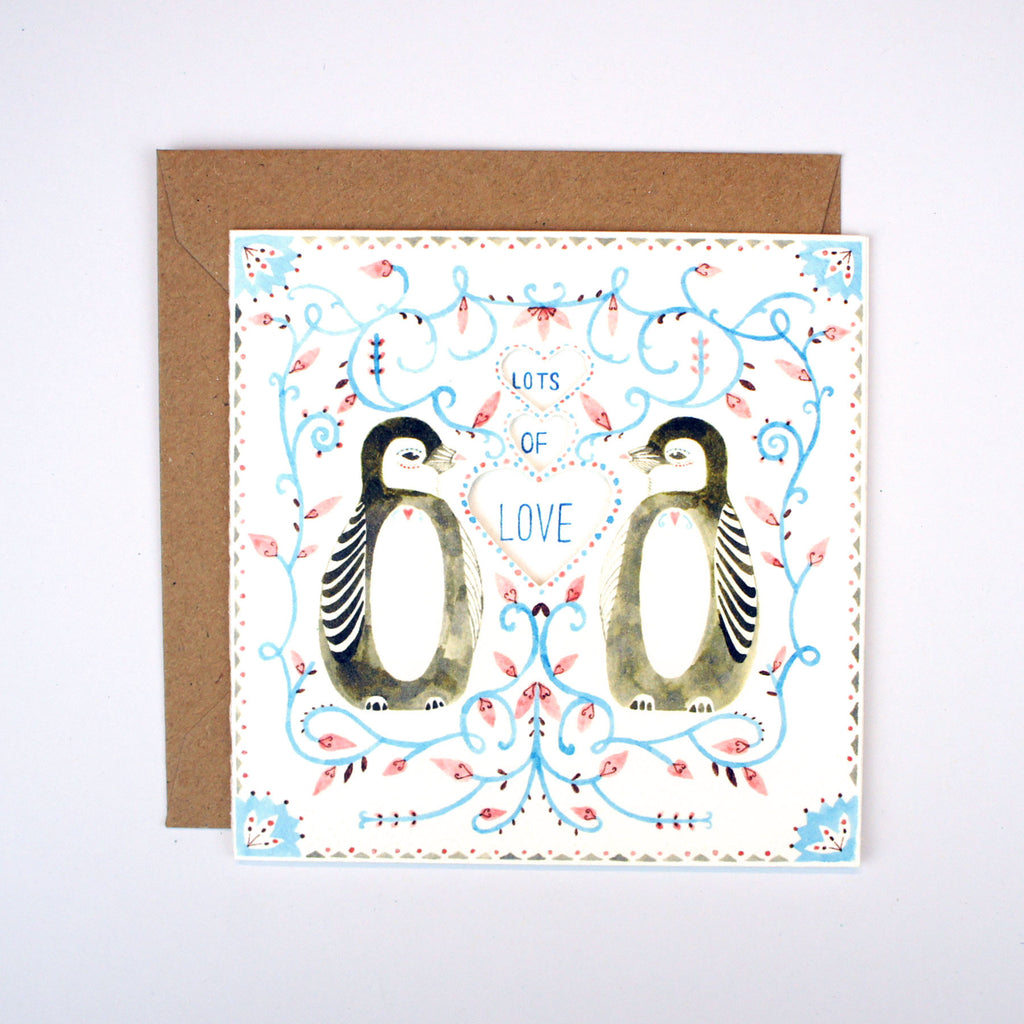 Penguins and Vines Lots of Love Card