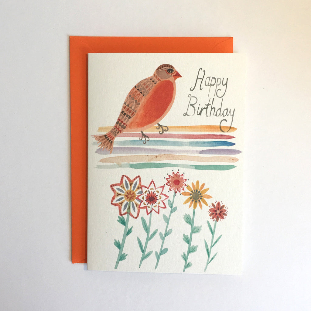 Birthday Rainbow Bird Card