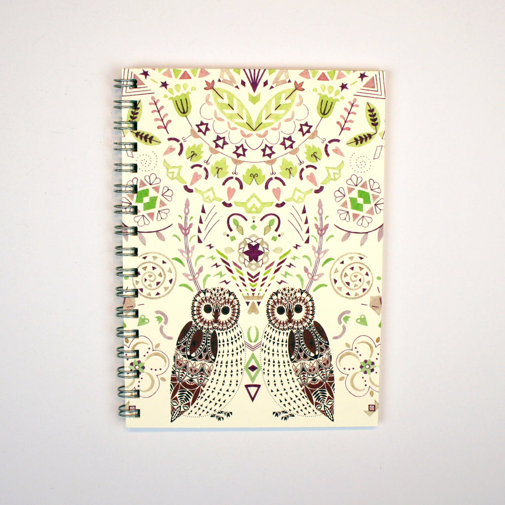 A6 Lined Notebook - Owls and Leaf Pattern