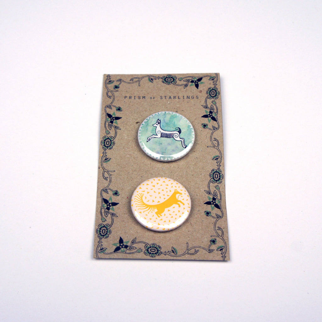 Deer and Fox Badge Set
