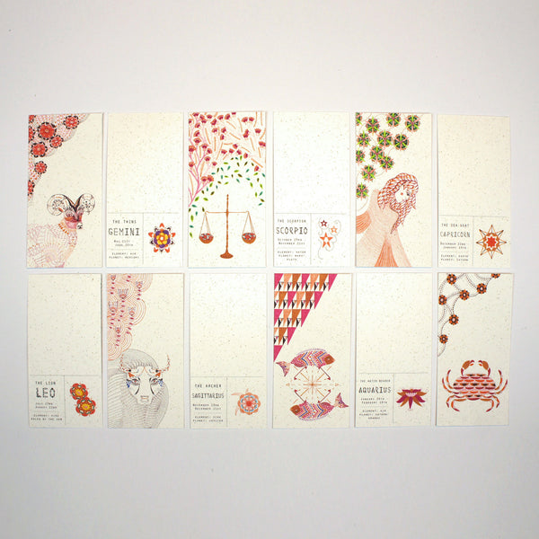 Set of 12 Mini Zodiac Postcards