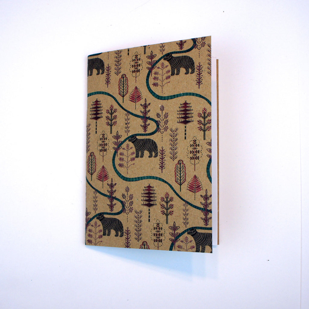 A6 Plain Notebook - Bear in the Forest