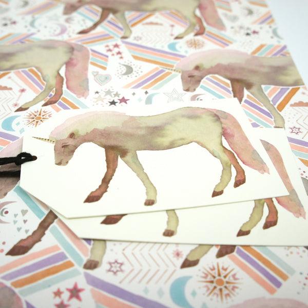 Unicorns and Stars Gift Wrapping Set