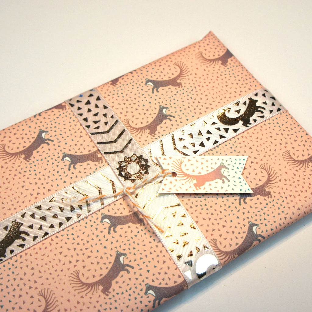 Silver and Pastel Pink Geo Fox Motif Ribbon